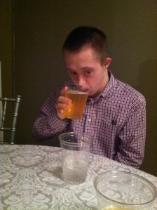 nick drinking beer