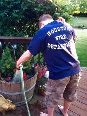 Nick watering plants