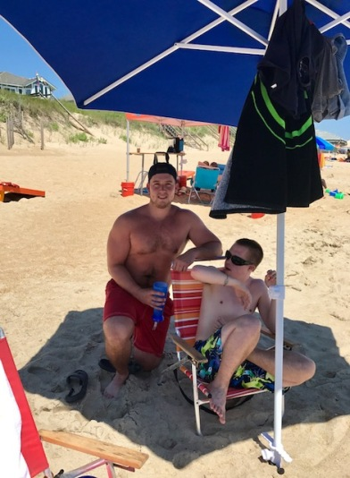 Nick and Bro on beach