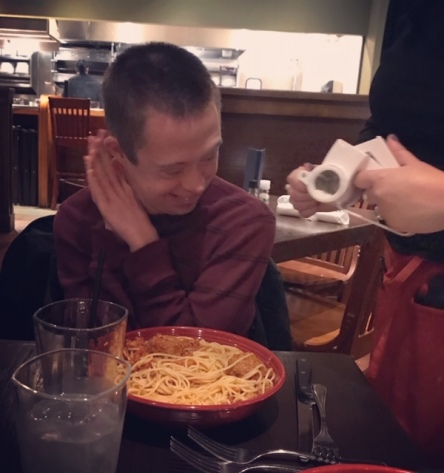 nick excited pasta