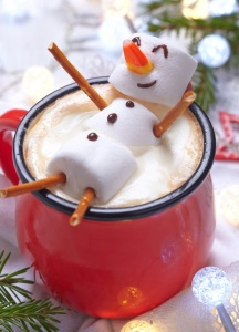 snowman in hot chocolate
